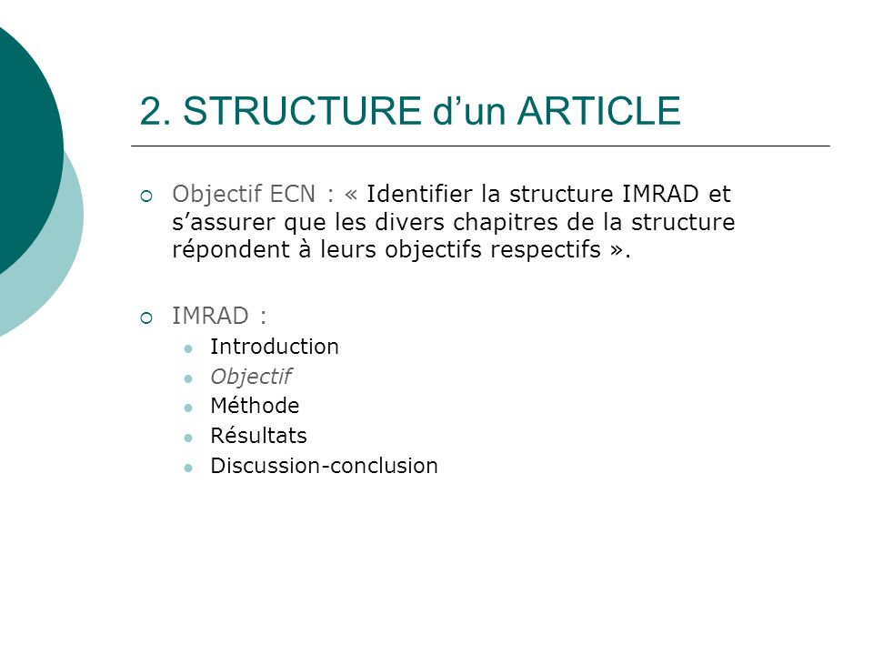 2. STRUCTURE d'un ARTICLE