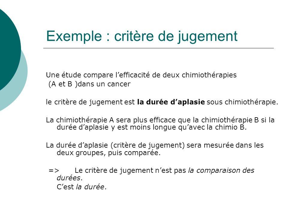 Exemple : critère de jugement