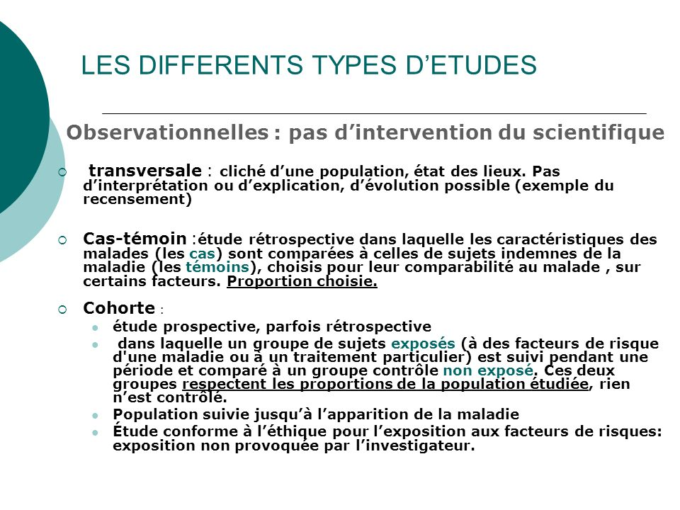 LES DIFFERENTS TYPES D'ETUDES