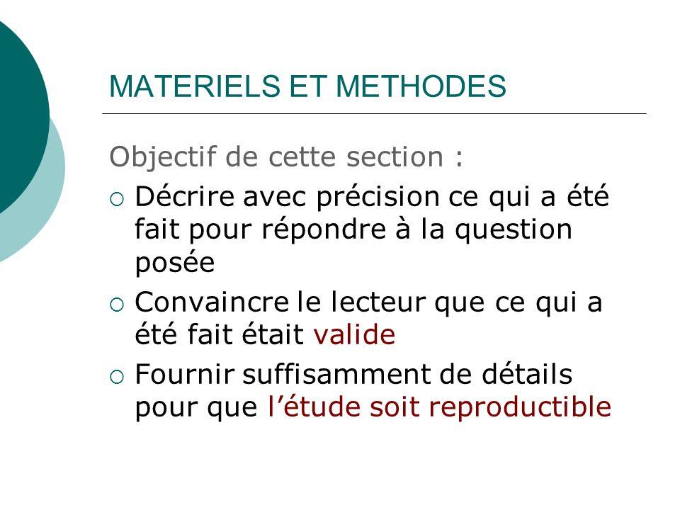 MATERIELS ET METHODES Objectif de cette section :