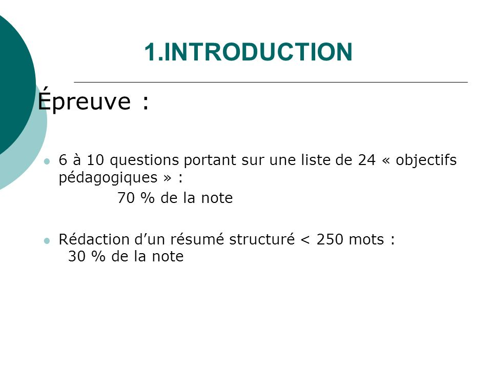 1.INTRODUCTION Épreuve :