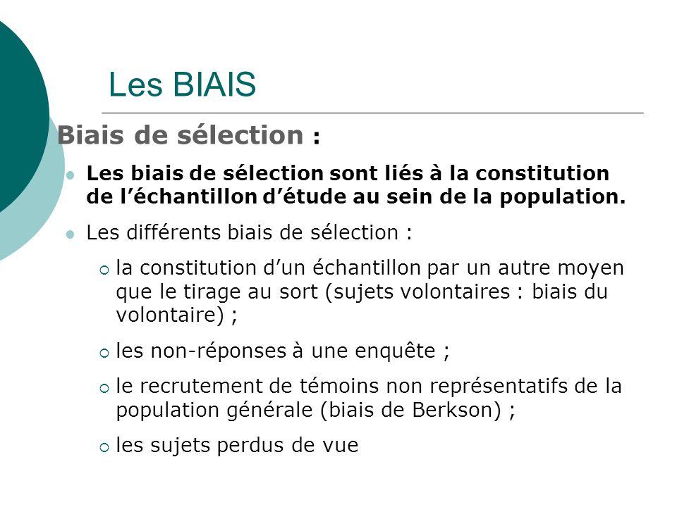 Les BIAIS Biais de sélection :