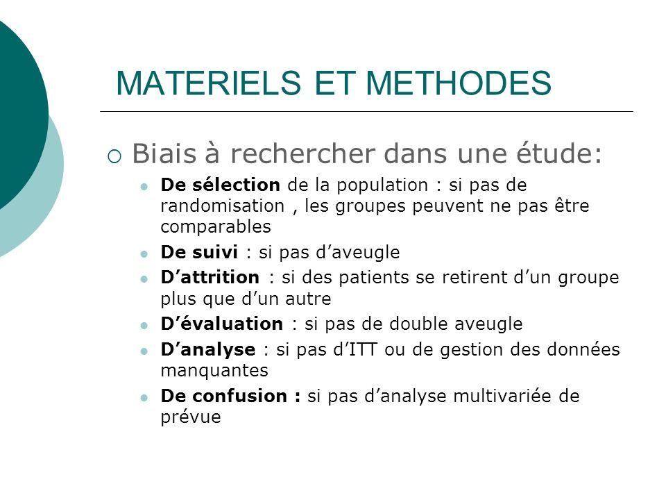 MATERIELS ET METHODES Biais à rechercher dans une étude: