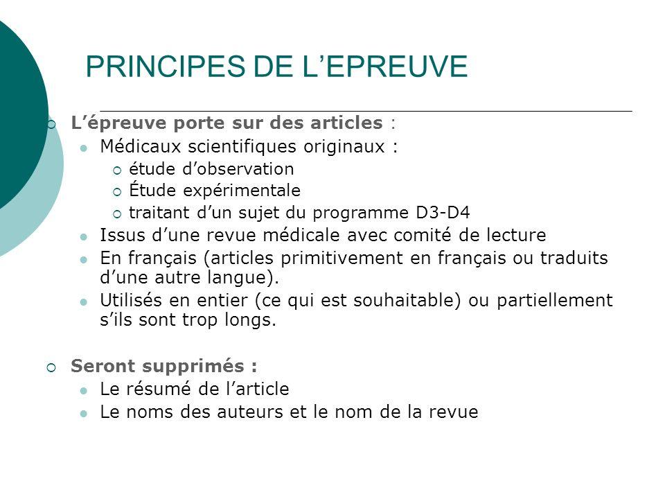 PRINCIPES DE L'EPREUVE