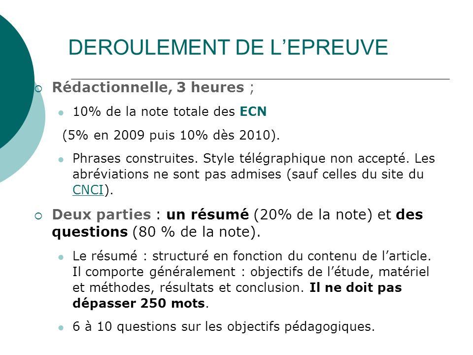 DEROULEMENT DE L'EPREUVE