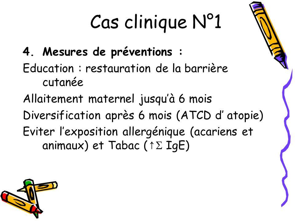 Cas clinique N°1 Mesures de préventions :