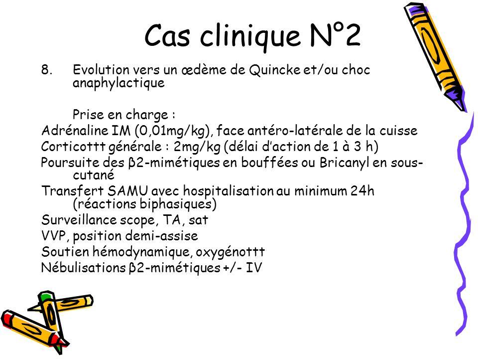 Cas clinique N°2 Evolution vers un œdème de Quincke et/ou choc anaphylactique. Prise en charge :