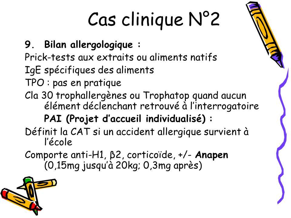 Cas clinique N°2 Bilan allergologique :