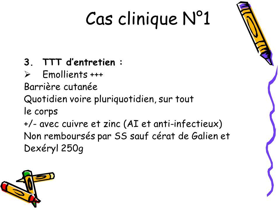 Cas clinique N°1 TTT d'entretien : Emollients +++ Barrière cutanée