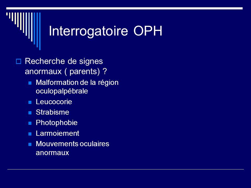 Interrogatoire OPH Recherche de signes anormaux ( parents)