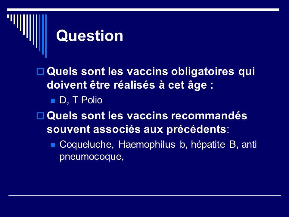 QuestionQuels sont les vaccins obligatoires qui doivent être réalisés à cet âge : D, T Polio.