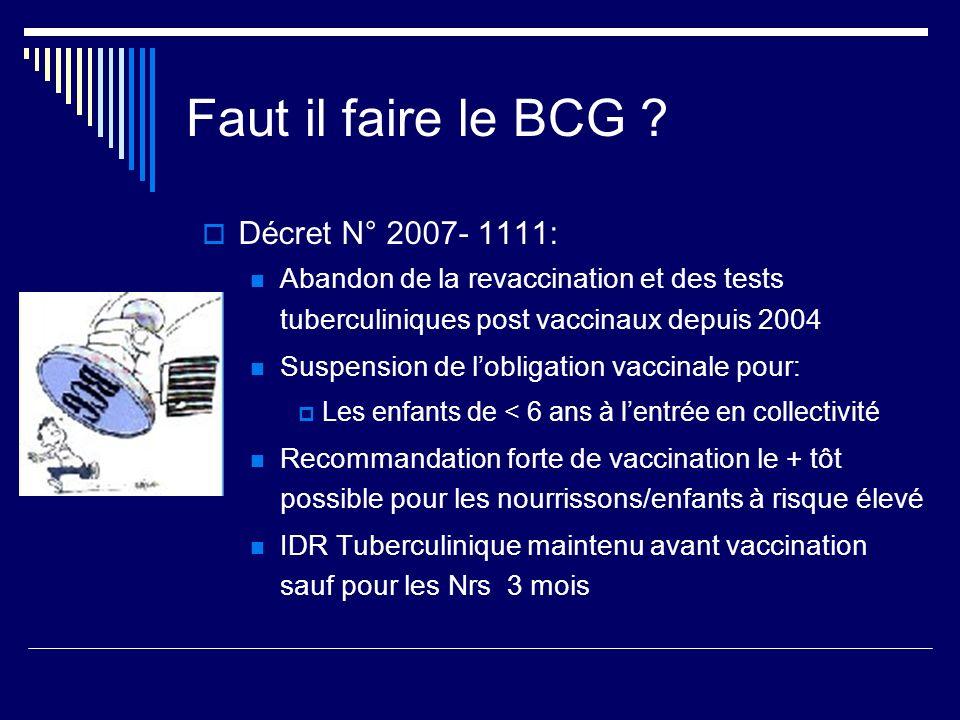 Faut il faire le BCG Décret N° 2007- 1111: