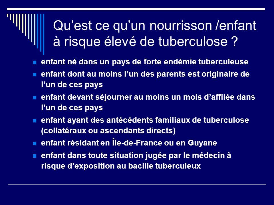 Qu'est ce qu'un nourrisson /enfant à risque élevé de tuberculose