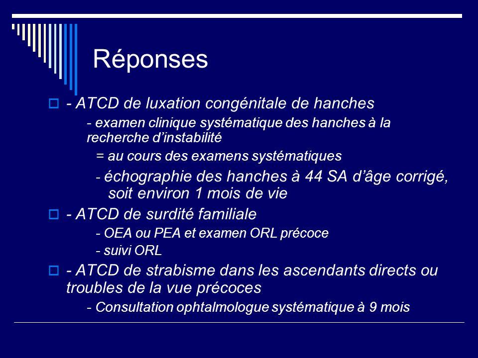 Réponses - ATCD de luxation congénitale de hanches