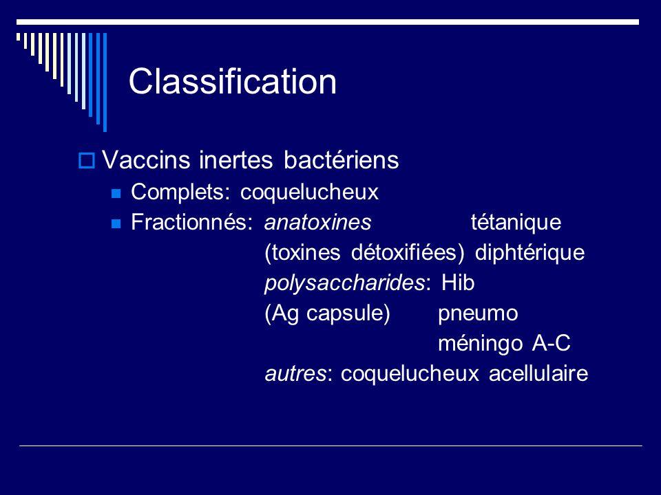 Classification Vaccins inertes bactériens Complets: coquelucheux