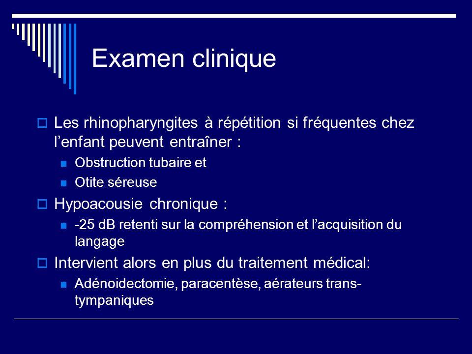 Examen clinique Les rhinopharyngites à répétition si fréquentes chez l'enfant peuvent entraîner : Obstruction tubaire et.