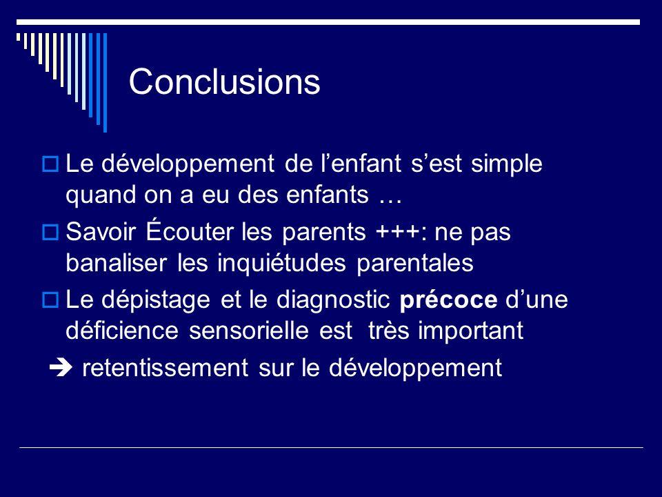 Conclusions Le développement de l'enfant s'est simple quand on a eu des enfants …