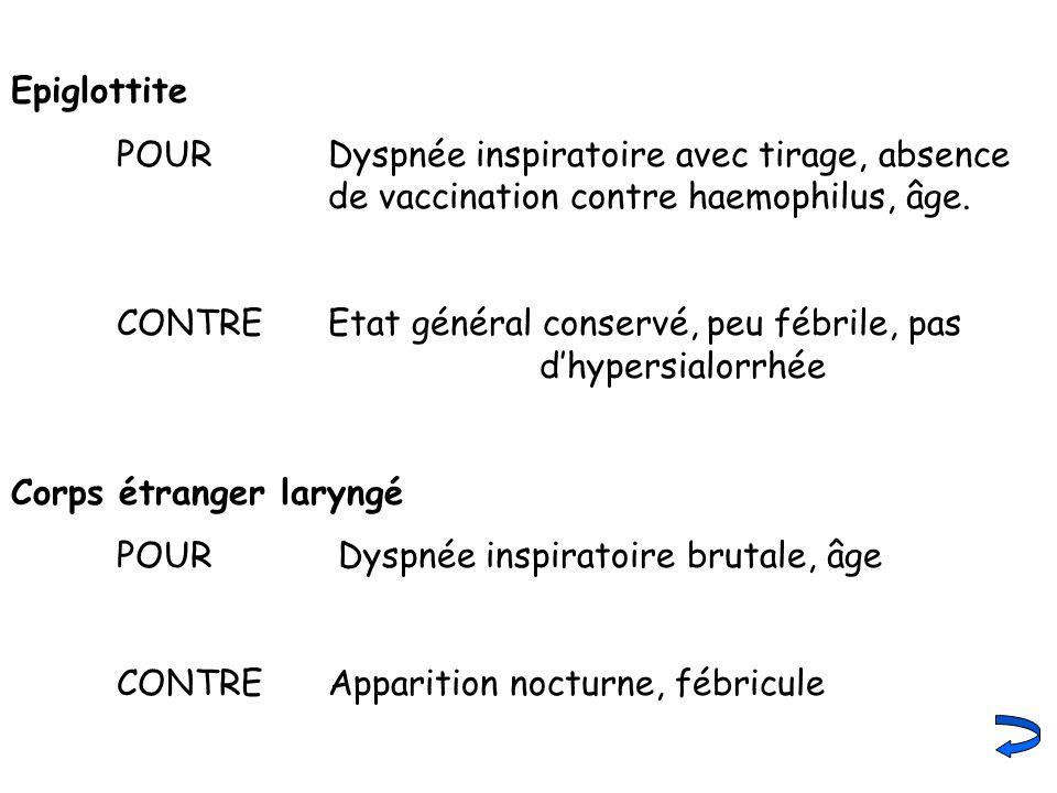 Epiglottite POUR Dyspnée inspiratoire avec tirage, absence de vaccination contre haemophilus, âge.