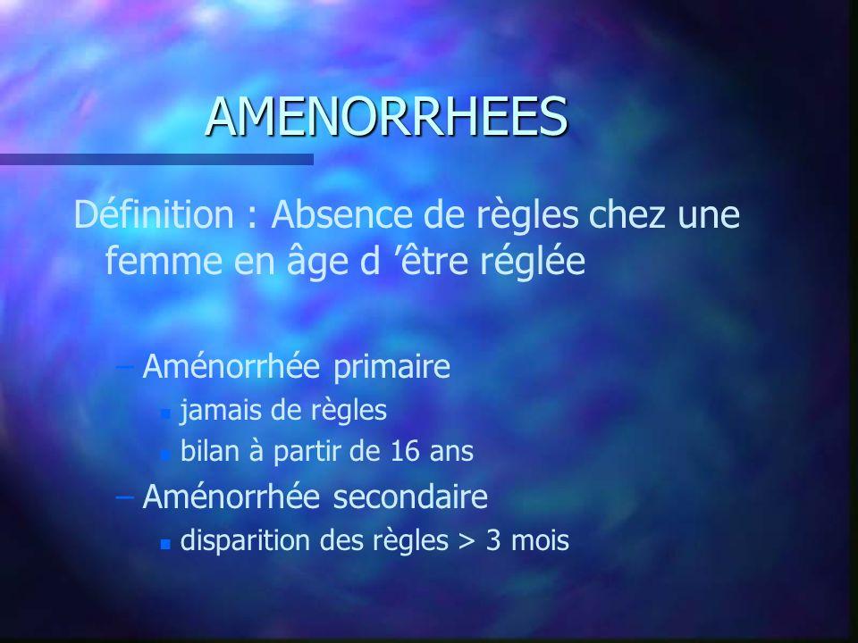 AMENORRHEES Définition : Absence de règles chez une femme en âge d 'être réglée. Aménorrhée primaire.