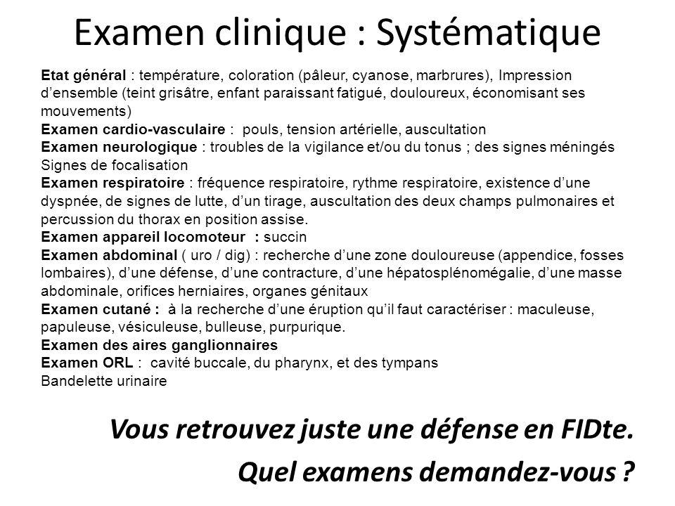 Examen clinique : Systématique