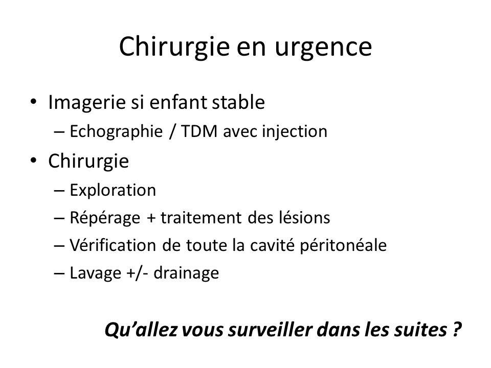 Chirurgie en urgence Imagerie si enfant stable Chirurgie