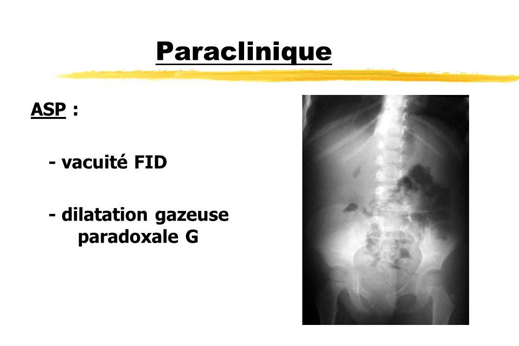 Paraclinique ASP : - vacuité FID - dilatation gazeuse paradoxale G
