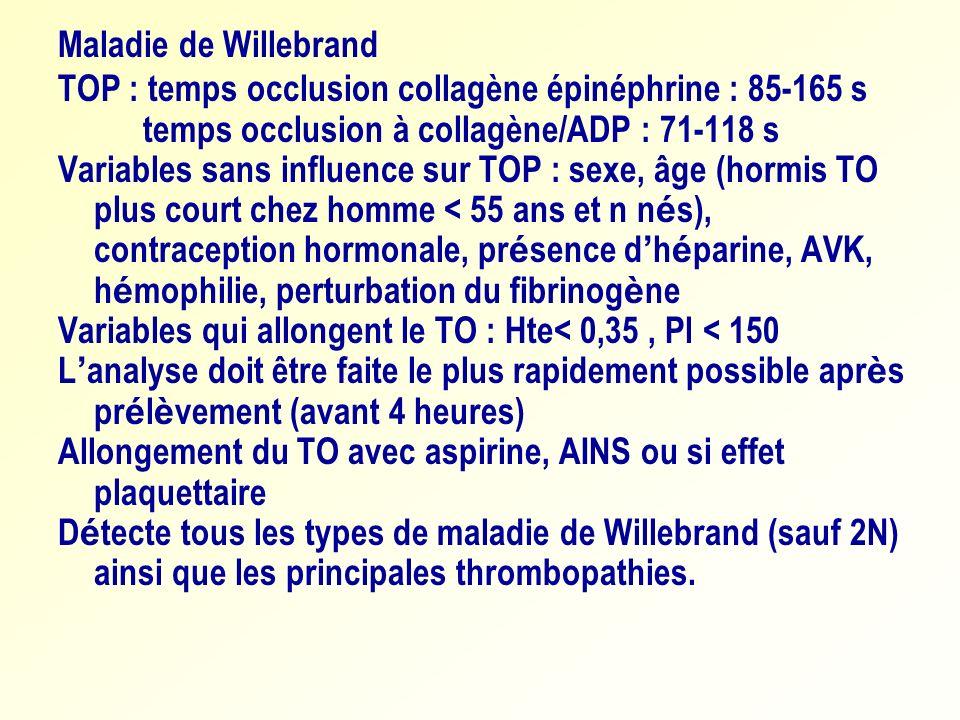 Maladie de WillebrandTOP : temps occlusion collagène épinéphrine : 85-165 s. temps occlusion à collagène/ADP : 71-118 s.