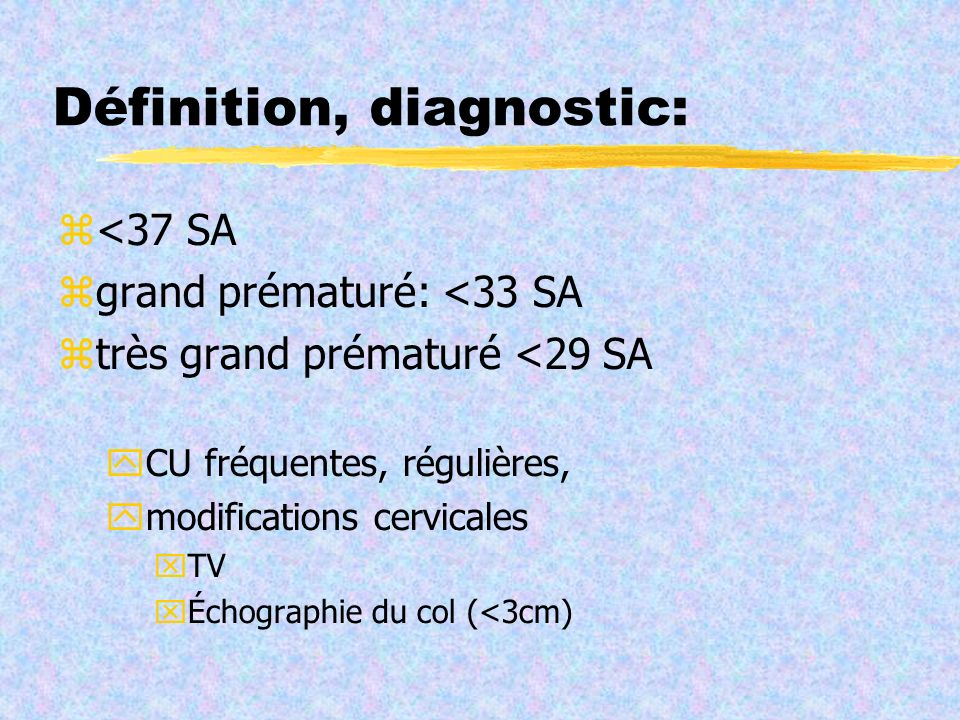 Définition, diagnostic: