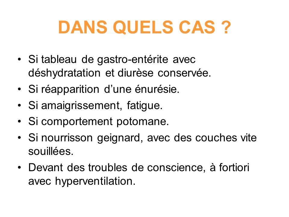 DANS QUELS CAS Si tableau de gastro-entérite avec déshydratation et diurèse conservée. Si réapparition d'une énurésie.