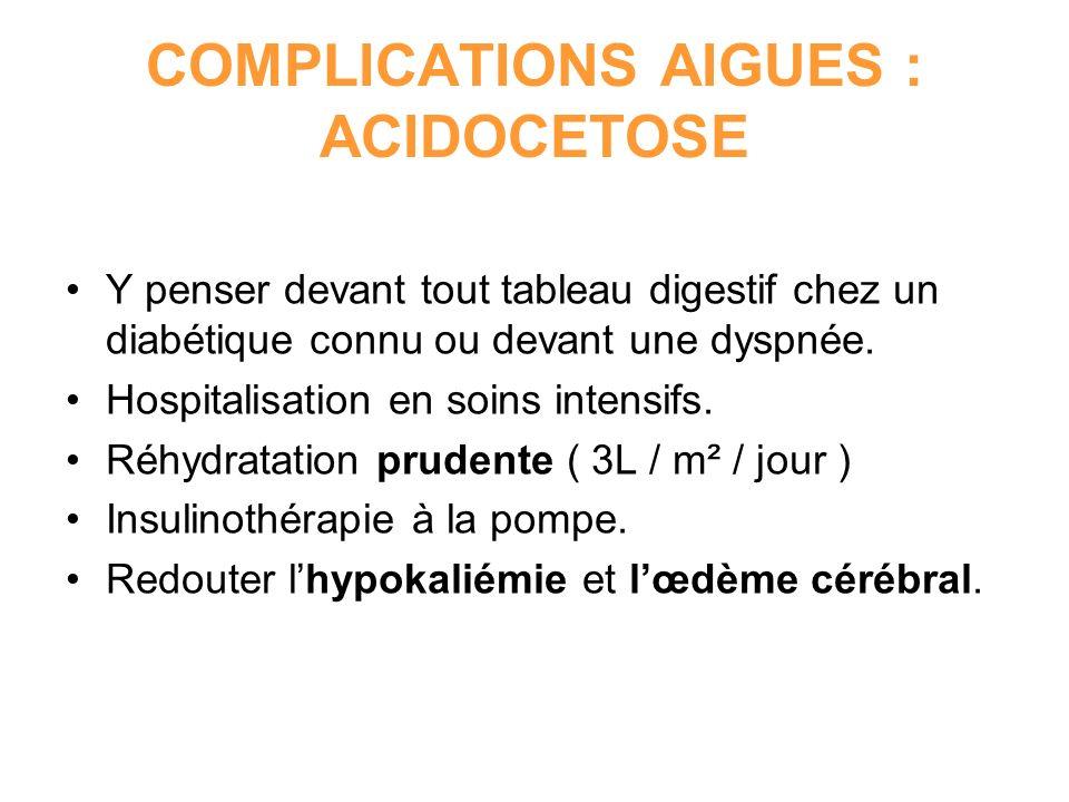 COMPLICATIONS AIGUES : ACIDOCETOSE