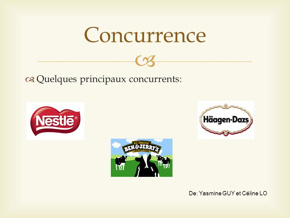 Concurrence Quelques principaux concurrents: