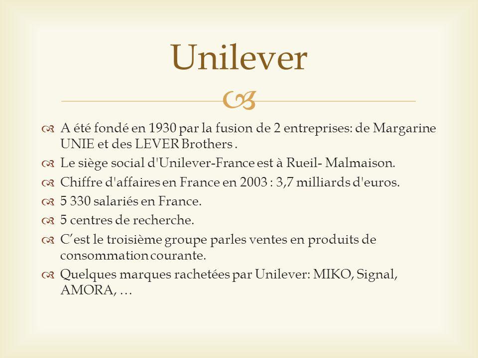 Unilever A été fondé en 1930 par la fusion de 2 entreprises: de Margarine UNIE et des LEVER Brothers .