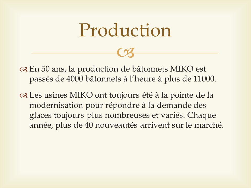 Production En 50 ans, la production de bâtonnets MIKO est passés de 4000 bâtonnets à l'heure à plus de 11000.