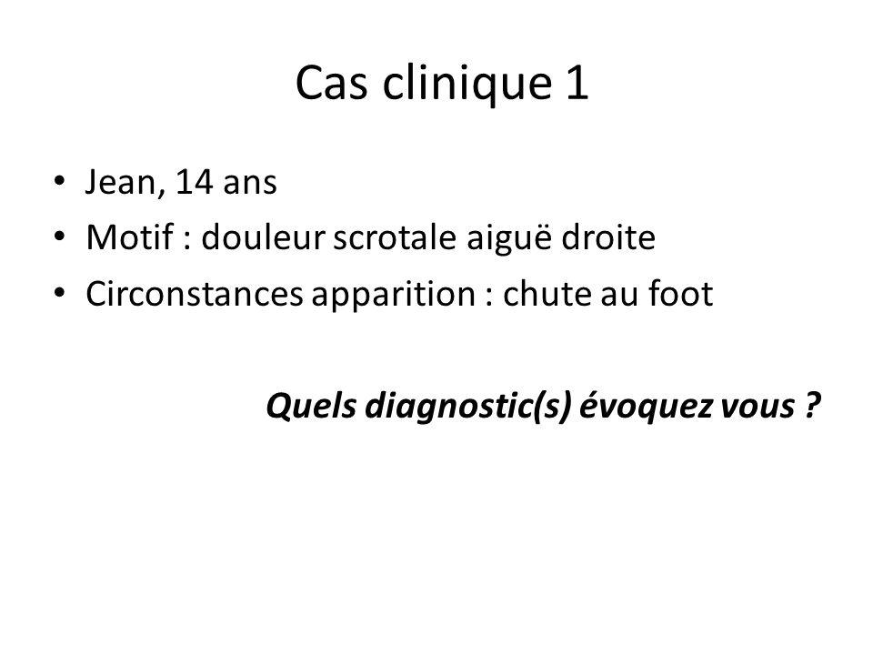 Cas clinique 1 Jean, 14 ans Motif : douleur scrotale aiguë droite