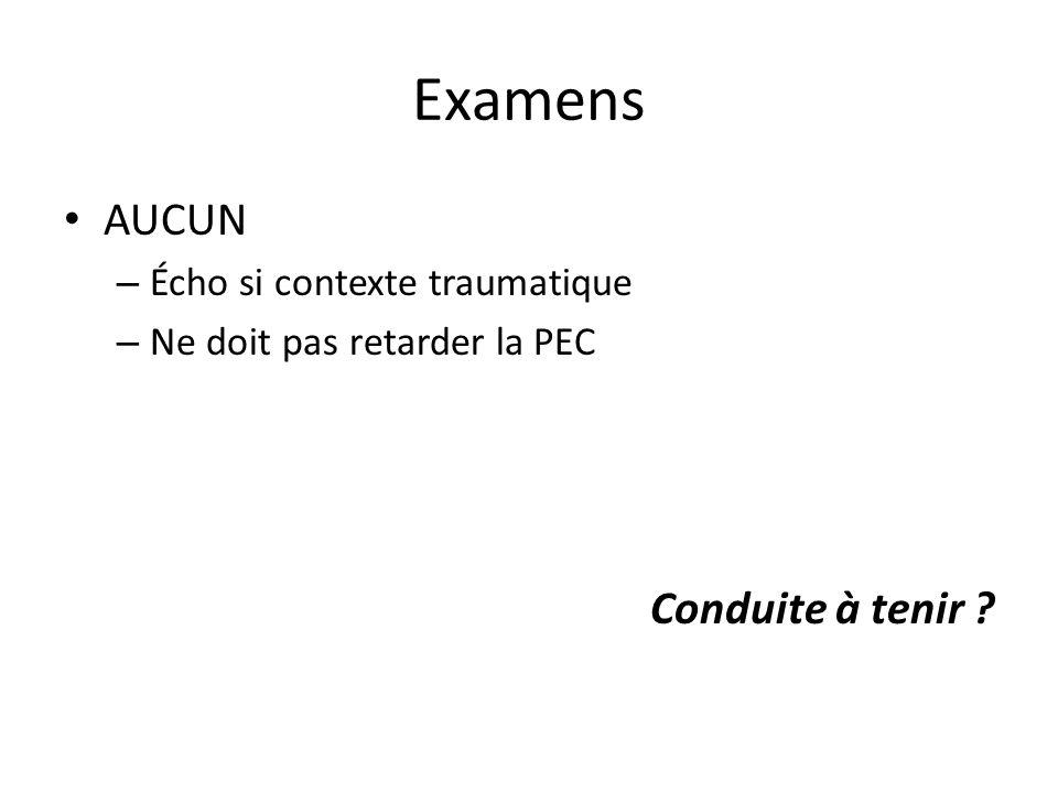 Examens AUCUN Conduite à tenir Écho si contexte traumatique