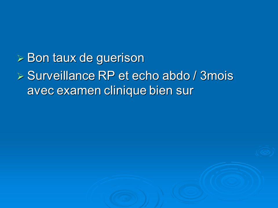 Bon taux de guerison Surveillance RP et echo abdo / 3mois avec examen clinique bien sur