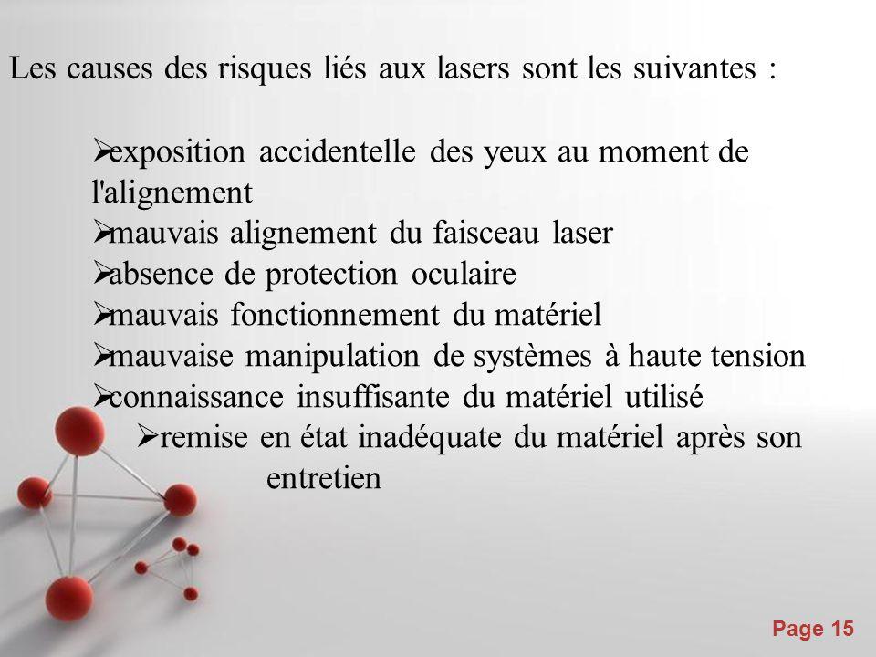 Les causes des risques liés aux lasers sont les suivantes :