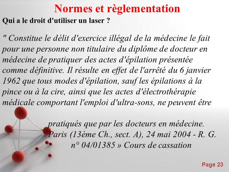 Normes et règlementation