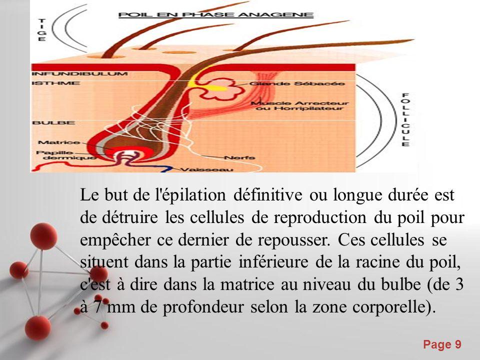 Le but de l épilation définitive ou longue durée est de détruire les cellules de reproduction du poil pour empêcher ce dernier de repousser.