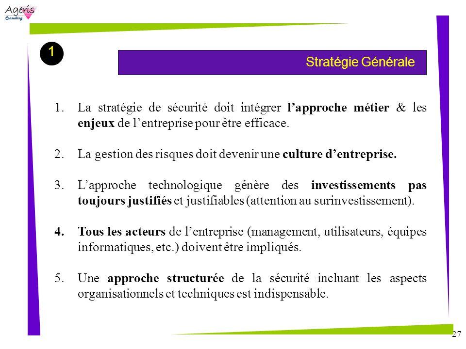 1Stratégie Générale. La stratégie de sécurité doit intégrer l'approche métier & les enjeux de l'entreprise pour être efficace.
