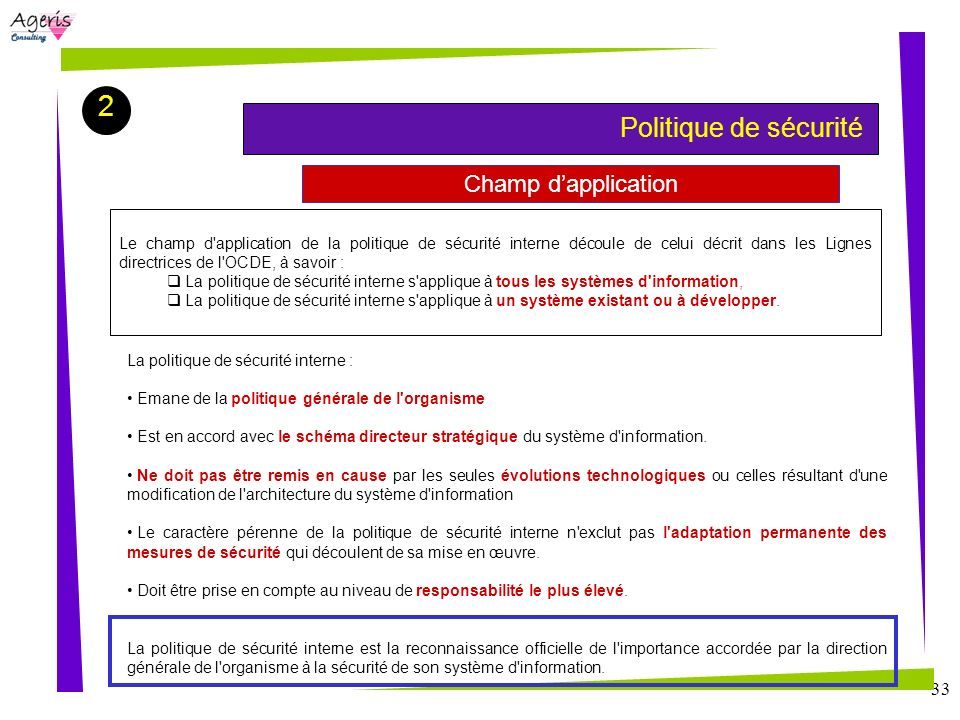 2 Champ d'application Politique de sécurité