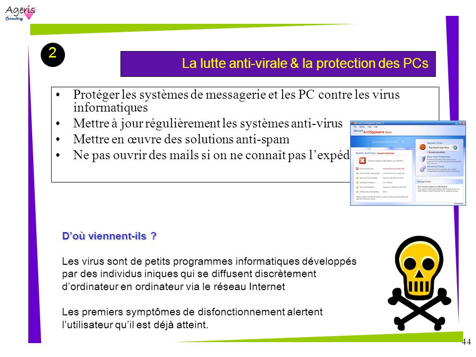 2La lutte anti-virale & la protection des PCs. Protéger les systèmes de messagerie et les PC contre les virus informatiques.