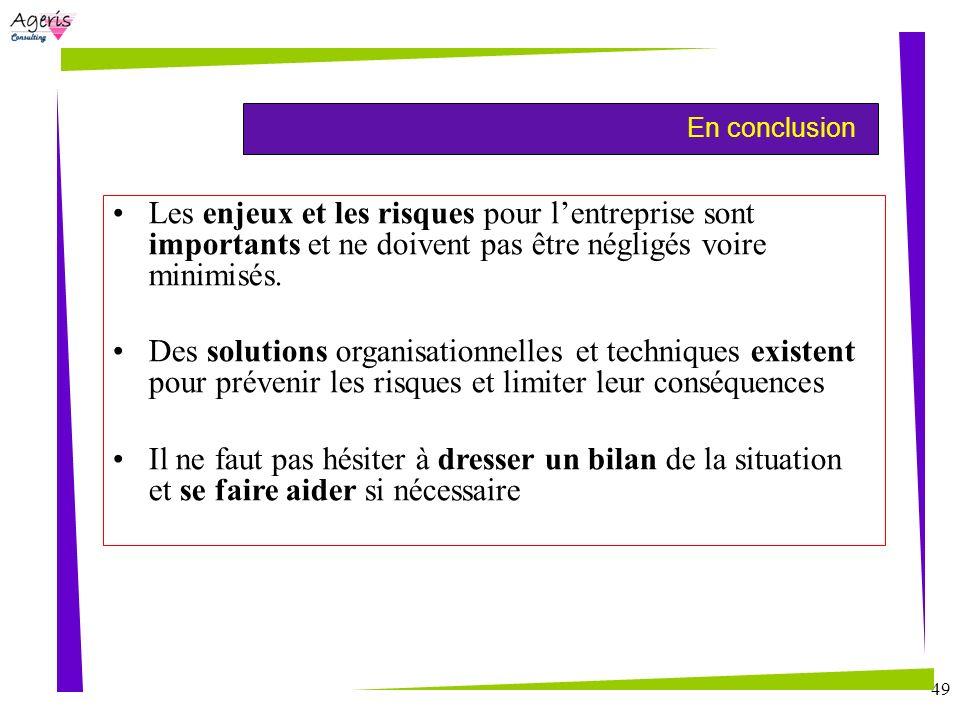 En conclusion Les enjeux et les risques pour l'entreprise sont importants et ne doivent pas être négligés voire minimisés.