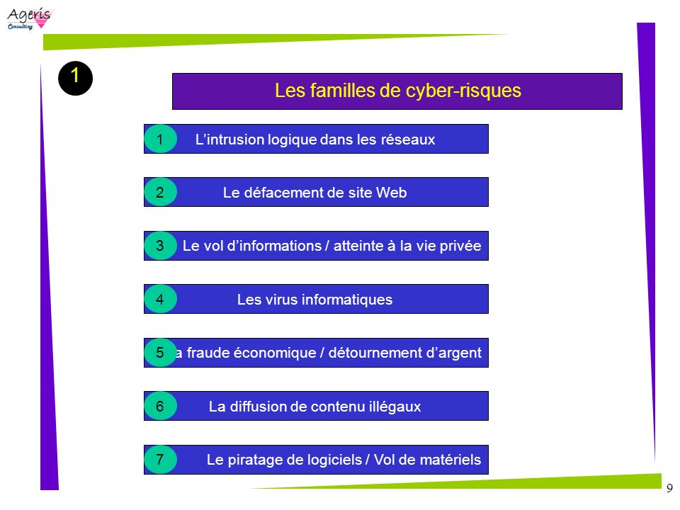 1 Les familles de cyber-risques L'intrusion logique dans les réseaux 1