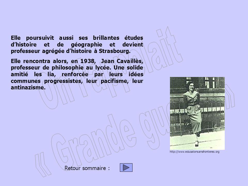 Elle poursuivit aussi ses brillantes études d'histoire et de géographie et devient professeur agrégée d'histoire à Strasbourg.