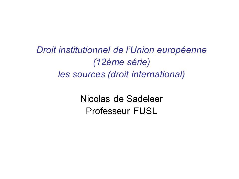 Droit institutionnel de l'Union européenne (12ème série)
