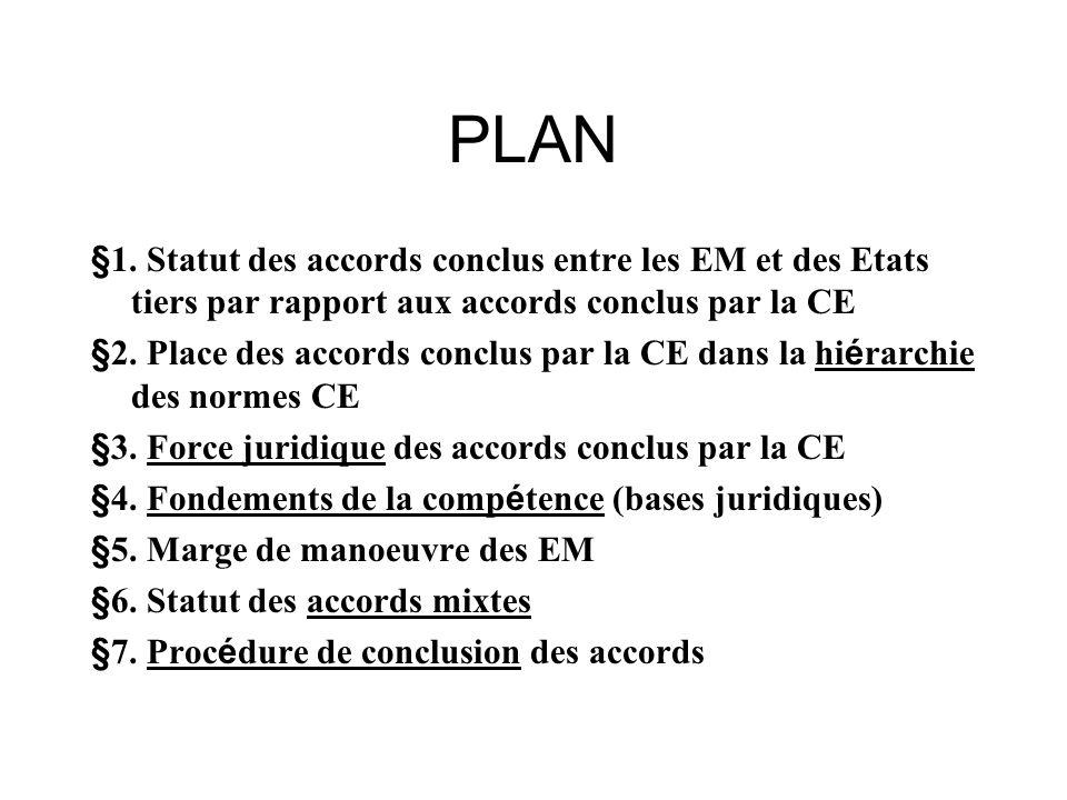 PLAN §1. Statut des accords conclus entre les EM et des Etats tiers par rapport aux accords conclus par la CE.