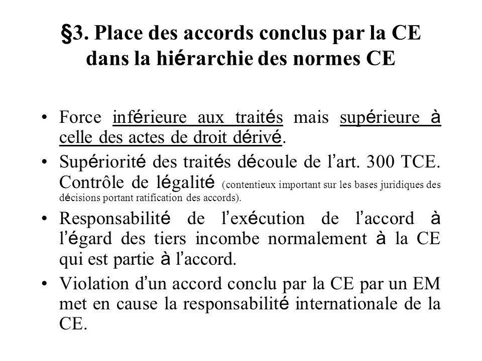 §3. Place des accords conclus par la CE dans la hiérarchie des normes CE