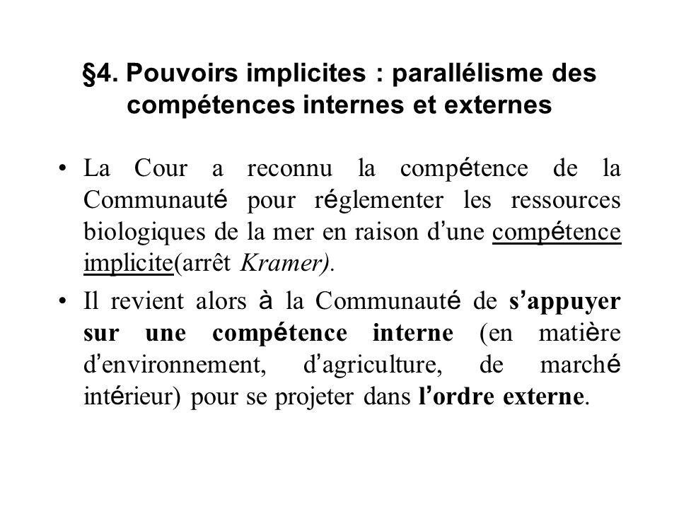§4. Pouvoirs implicites : parallélisme des compétences internes et externes