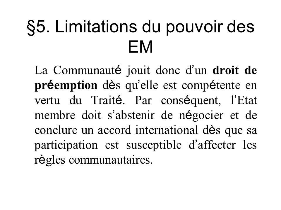 §5. Limitations du pouvoir des EM